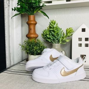 NIKE Gold & White Sneakers Sz 9c Toddler